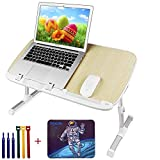 Laptop Stand for Bed with Mouse Pad and Tie, Pixiri Height Adjustable Lap Desk for Adults and Kids,...